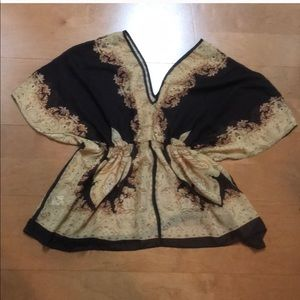 Brown and Tan Sheer flowy Top Size Small